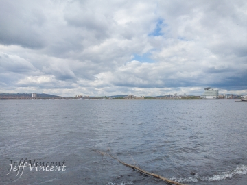 View across Cardiff Bay towards The Garth