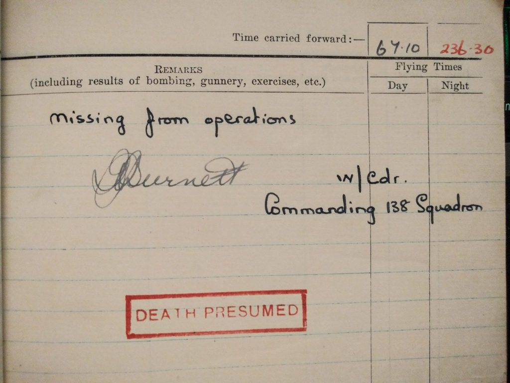 RAF Log Book Detail - Missing from Operations. Death Presumed