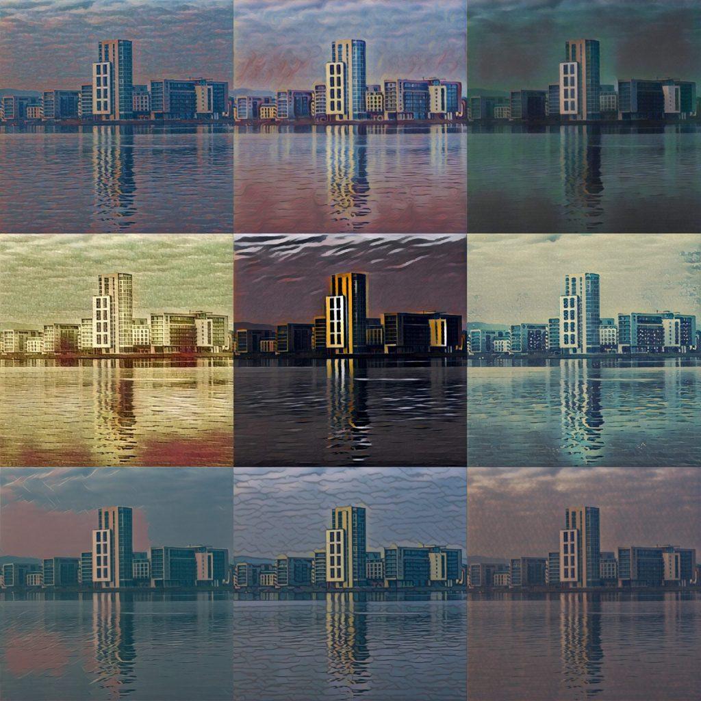 View across Cardiff Bay - nine alternate views via Prisma