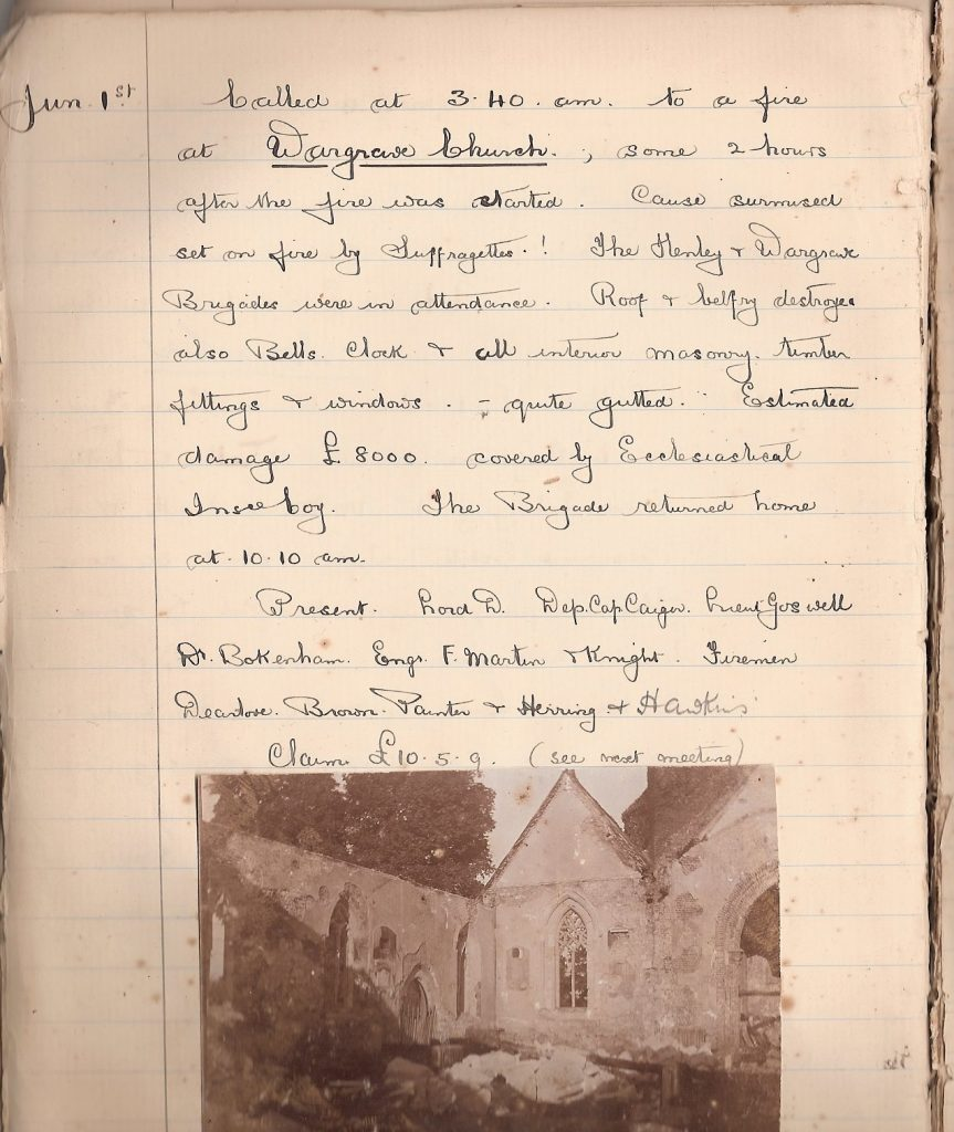 Wokingham Fire Brigade Diary June 1914