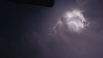 View of forked lightning directly overhead
